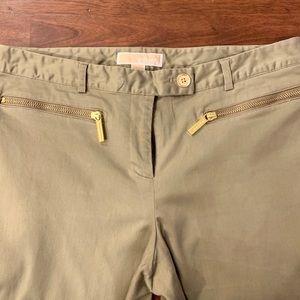 Michael Kors Green Khaki Slim Slacks 8 Pants